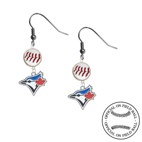 Toronto Blue Jays MLB Authentic Rawlings On Field Leather Baseball Dangle Earrings