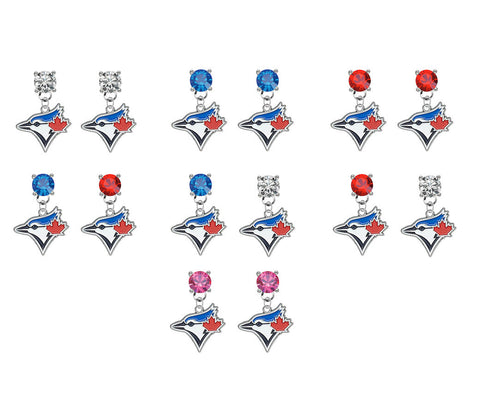 Toronto Blue Jays MLB Swarovski Crystal Stud Rhinestone Earrings