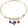 Toronto Blue Jays Gold MLB Expandable Wire Bangle Charm Bracelet