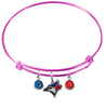 Toronto Blue Jays Pink MLB Expandable Wire Bangle Charm Bracelet