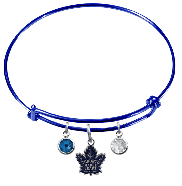 Toronto Maple Leafs Color Edition BLUE Expandable Wire Bangle Charm Bracelet