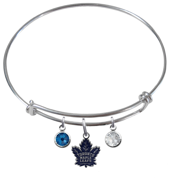 Toronto Maple Leafs NHL Expandable Wire Bangle Charm Bracelet