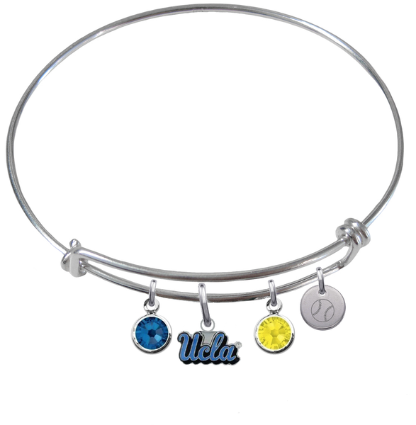 UCLA Bruins Baseball Expandable Wire Bangle Charm Bracelet