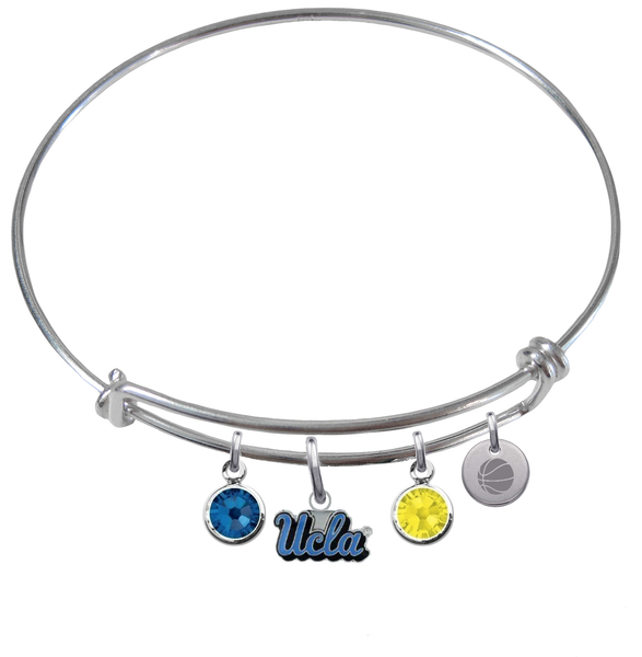 UCLA Bruins Basketball Expandable Wire Bangle Charm Bracelet