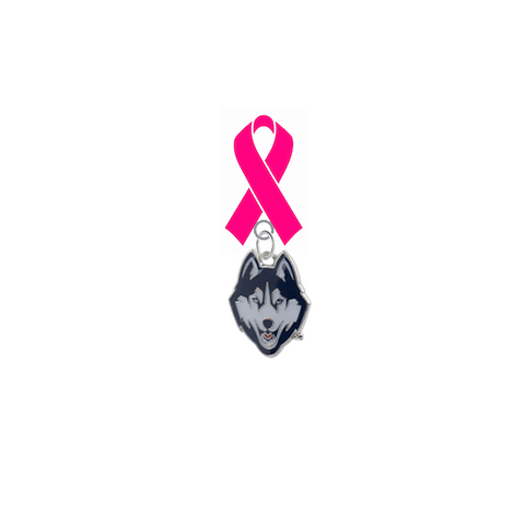 UConn Connecticut Huskies Breast Cancer Awareness / Mothers Day Pink Ribbon Lapel Pin