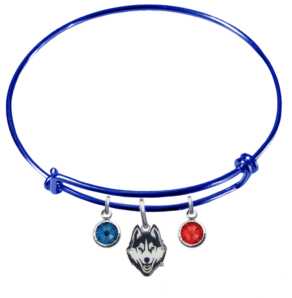 UConn Connecticut Huskies BLUE Color Edition Expandable Wire Bangle Charm Bracelet