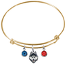 UConn Connecticut Huskies GOLD Color Edition Expandable Wire Bangle Charm Bracelet