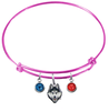 UConn Connecticut Huskies PINK Color Edition Expandable Wire Bangle Charm Bracelet