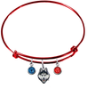 UConn Connecticut Huskies RED Color Edition Expandable Wire Bangle Charm Bracelet