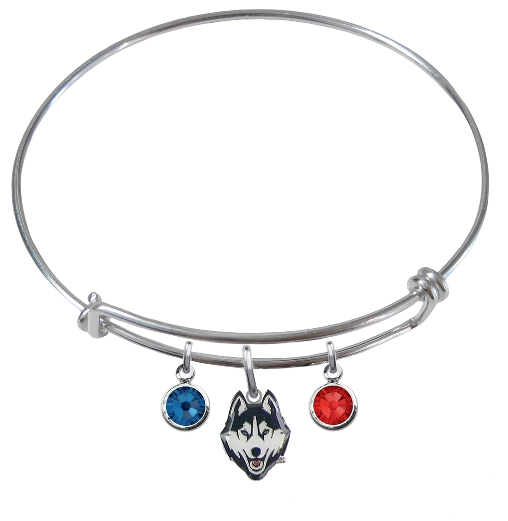 UConn Connecticut Huskies NCAA Expandable Wire Bangle Charm Bracelet