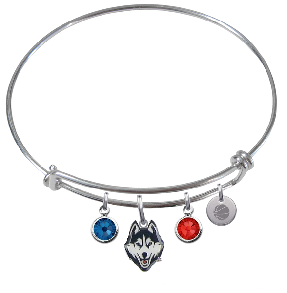 UConn Connecticut Huskies Basketball Expandable Wire Bangle Charm Bracelet