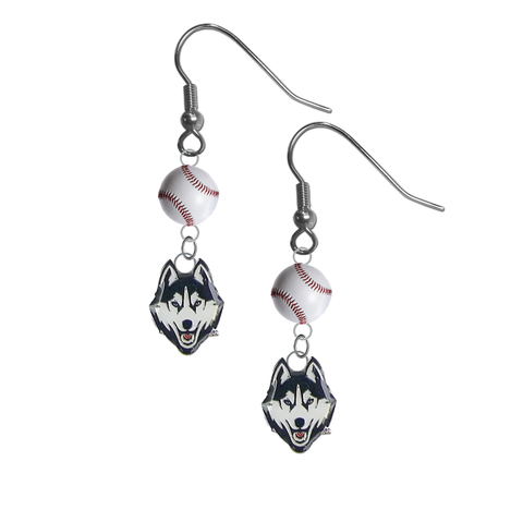 UConn Connecticut Huskies NCAA Baseball Dangle Earrings