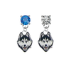 UConn Huskies BLUE & CLEAR Swarovski Crystal Stud Rhinestone Earrings