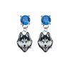 UConn Huskies BLUE Swarovski Crystal Stud Rhinestone Earrings