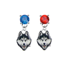 UConn Huskies BLUE & RED Swarovski Crystal Stud Rhinestone Earrings