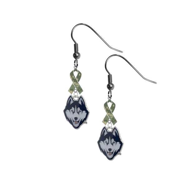 UConn Connecticut Huskies Salute to Service Camouflage Camo Ribbon Dangle Earrings