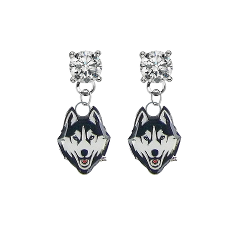 UConn Huskies CLEAR Swarovski Crystal Stud Rhinestone Earrings