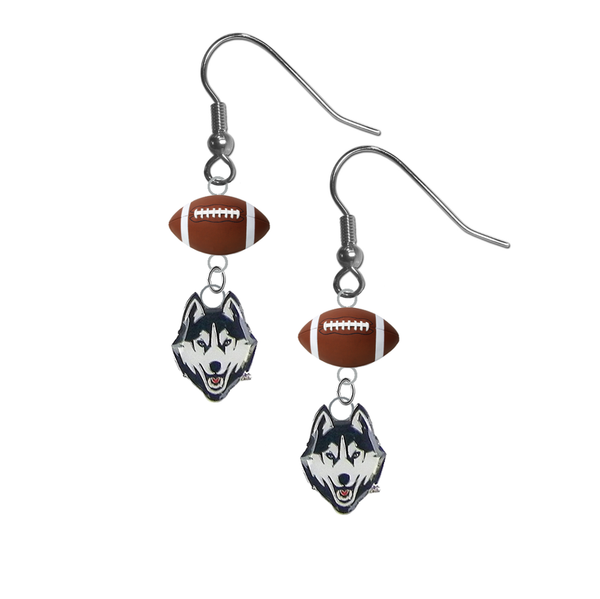 UConn Connecticut Huskies NCAA Football Dangle Earrings