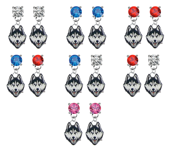 UConn Huskies NCAA Swarovski Crystal Stud Rhinestone Earrings