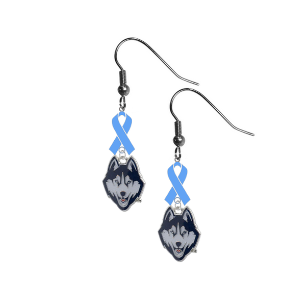 UConn Connecticut Huskies Prostate Cancer Awareness Light Blue Ribbon Dangle Earrings