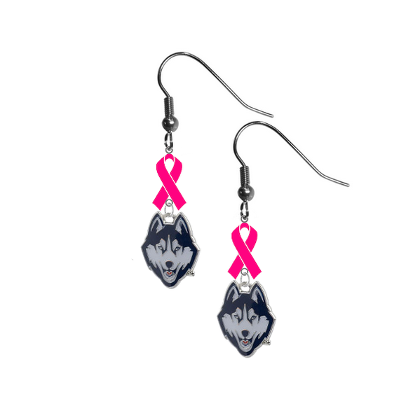 UConn Connecticut Huskies Breast Cancer Awareness Hot Pink Ribbon Dangle Earrings