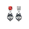 UConn Huskies RED & CLEAR Swarovski Crystal Stud Rhinestone Earrings