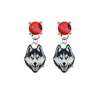 UConn Huskies RED Swarovski Crystal Stud Rhinestone Earrings