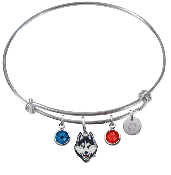 UConn Connecticut Huskies Football Expandable Wire Bangle Charm Bracelet