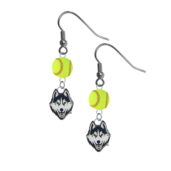 UConn Connecticut Huskies NCAA Fastpitch Softball Dangle Earrings