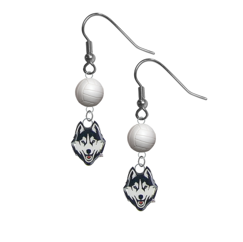UConn Connecticut Huskies NCAA Volleyball Dangle Earrings