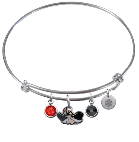UNLV Runnin Rebels Basketball Expandable Wire Bangle Charm Bracelet