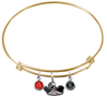 UNLV Las Vegas Rebels GOLD Expandable Wire Bangle Charm Bracelet