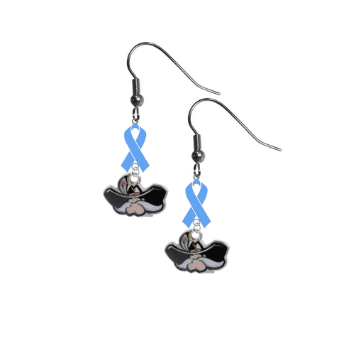 UNLV Runnin Rebels Prostate Cancer Awareness Light Blue Ribbon Dangle Earrings