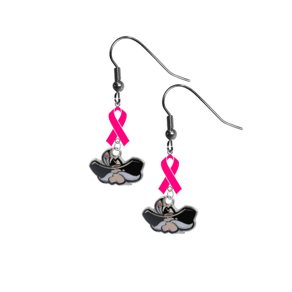 UNLV Runnin Rebels Breast Cancer Awareness Hot Pink Ribbon Dangle Earrings