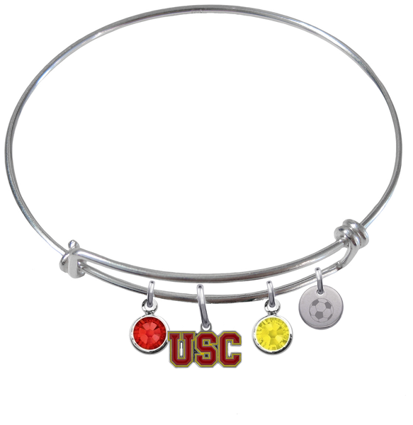 USC Southern California Trojans Soccer Expandable Wire Bangle Charm Bracelet