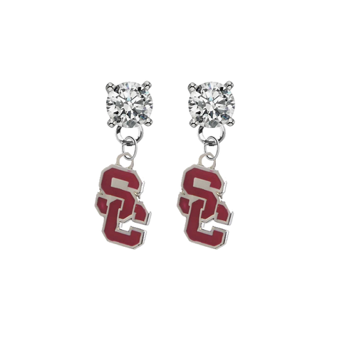 USC Southern California Trojans 2 CLEAR Swarovski Crystal Stud Rhinestone Earrings
