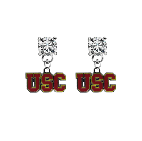 USC Southern California Trojans CLEAR Swarovski Crystal Stud Rhinestone Earrings