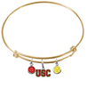 USC Southern California Trojans GOLD Color Edition Expandable Wire Bangle Charm Bracelet