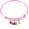 USC Southern California Trojans PINK Color Edition Expandable Wire Bangle Charm Bracelet
