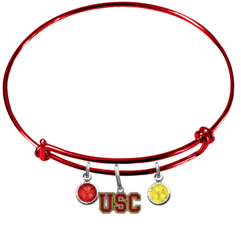 USC Southern California Trojans RED Color Edition Expandable Wire Bangle Charm Bracelet