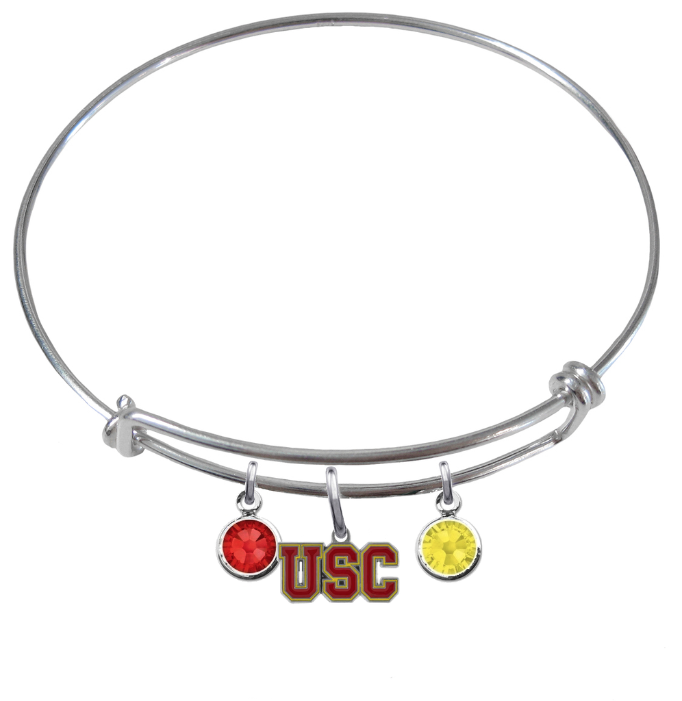 USC Southern California Trojans NCAA Expandable Wire Bangle Charm Bracelet