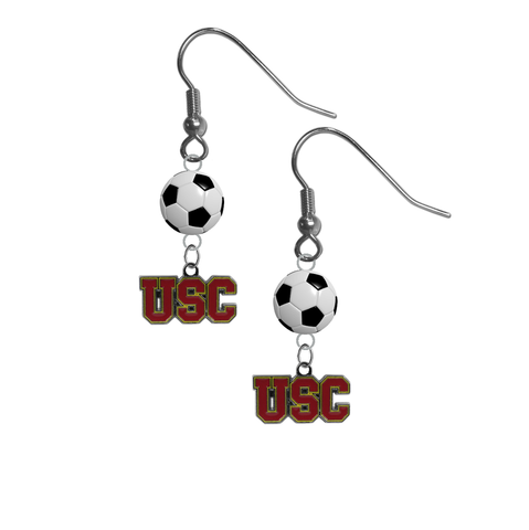 USC Southern California Trojans NCAA Soccer Dangle Earrings