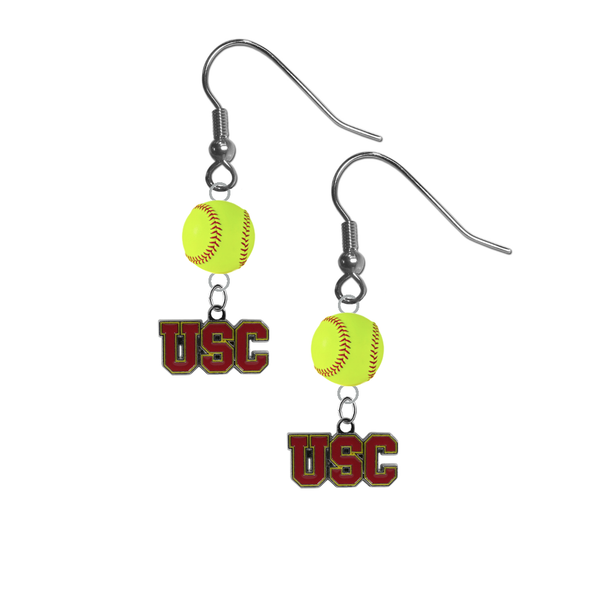 USC Southern California Trojans NCAA Fastpitch Softball Dangle Earrings