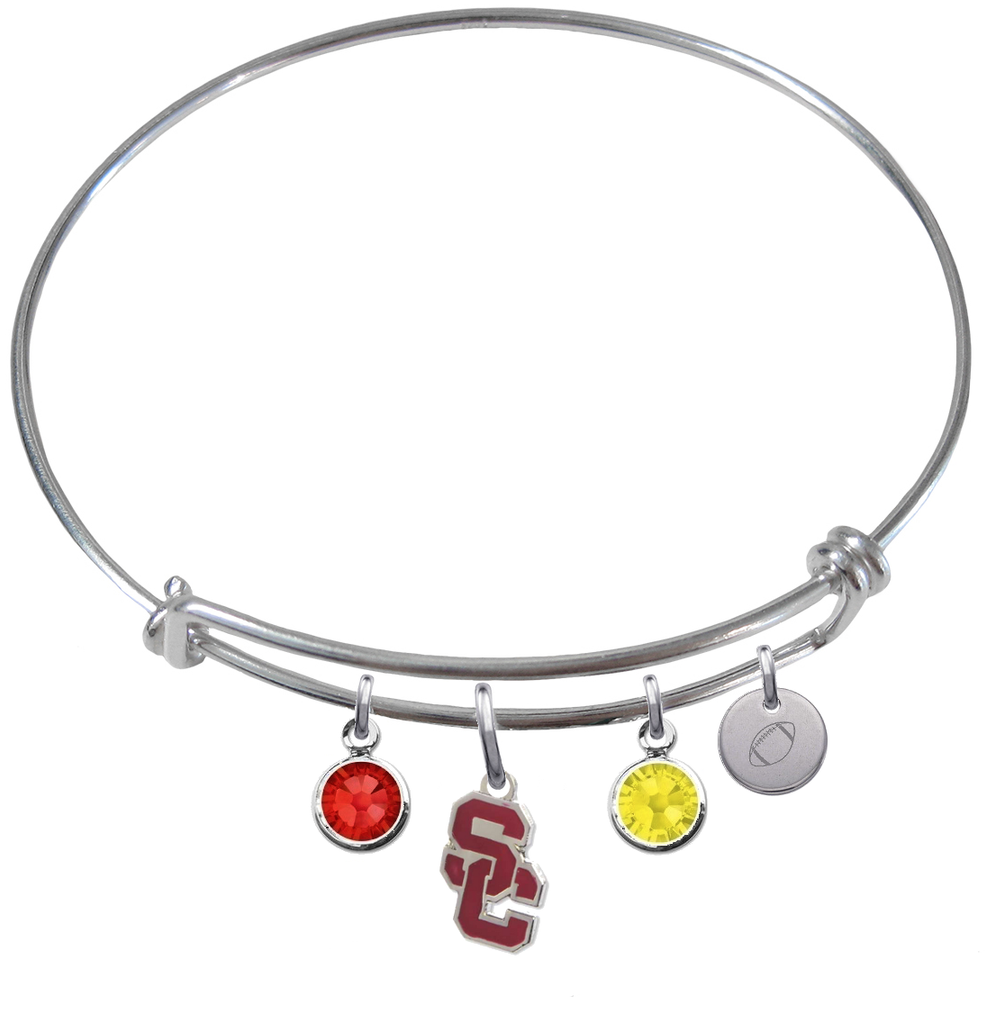 USC Trojans Style 2 Football Expandable Wire Bangle Charm Bracelet