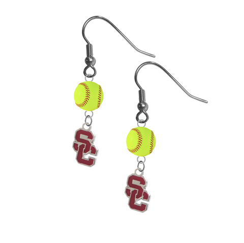 USC Southern California Trojans Style 2 NCAA Fastpitch Softball Dangle Earrings