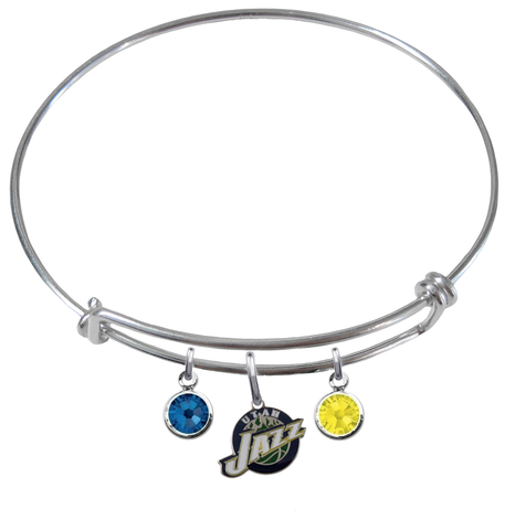 Utah Jazz NBA Expandable Wire Bangle Charm Bracelet
