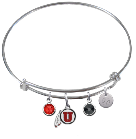 Utah Utes Baseball Expandable Wire Bangle Charm Bracelet