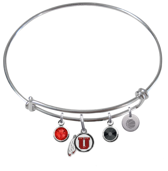 Utah Utes Basketball Expandable Wire Bangle Charm Bracelet