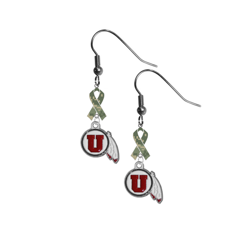 Utah Utes Salute to Service Camouflage Camo Ribbon Dangle Earrings