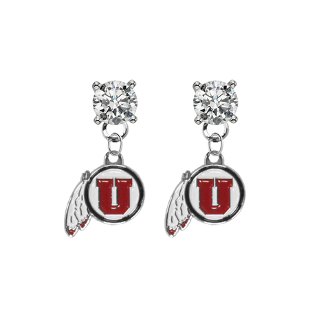 Utah Utes CLEAR Swarovski Crystal Stud Rhinestone Earrings